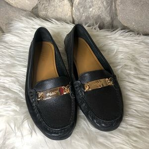 Coach black gold plate leather loafers size 7